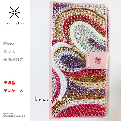 【全機種対応】【片面】iPhoneXS Max iPhoneXR iPhoneX iPhone8 iPhone7 PLUS 6s SE GALAXY S9 S8 + Note8 XPERIA XZ2 スマホケース カバー 手帳型 スワロフスキー デコ かわいい デコ ケース カバー キラキラ -プッチ柄2-