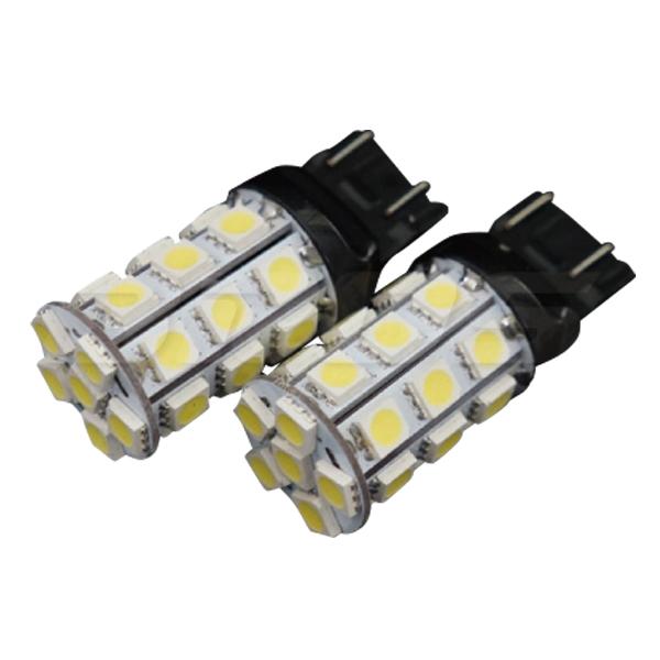 新商品が続々入荷中! T20 LED ダブル ホワイト 3chipSMD×27連 ウェッジ球 無極性 2個 ++-- +-+- 両対応 バルブ 白 汎用 外装 パーツ ブレーキランプ ストップランプ テールランプ  _23177