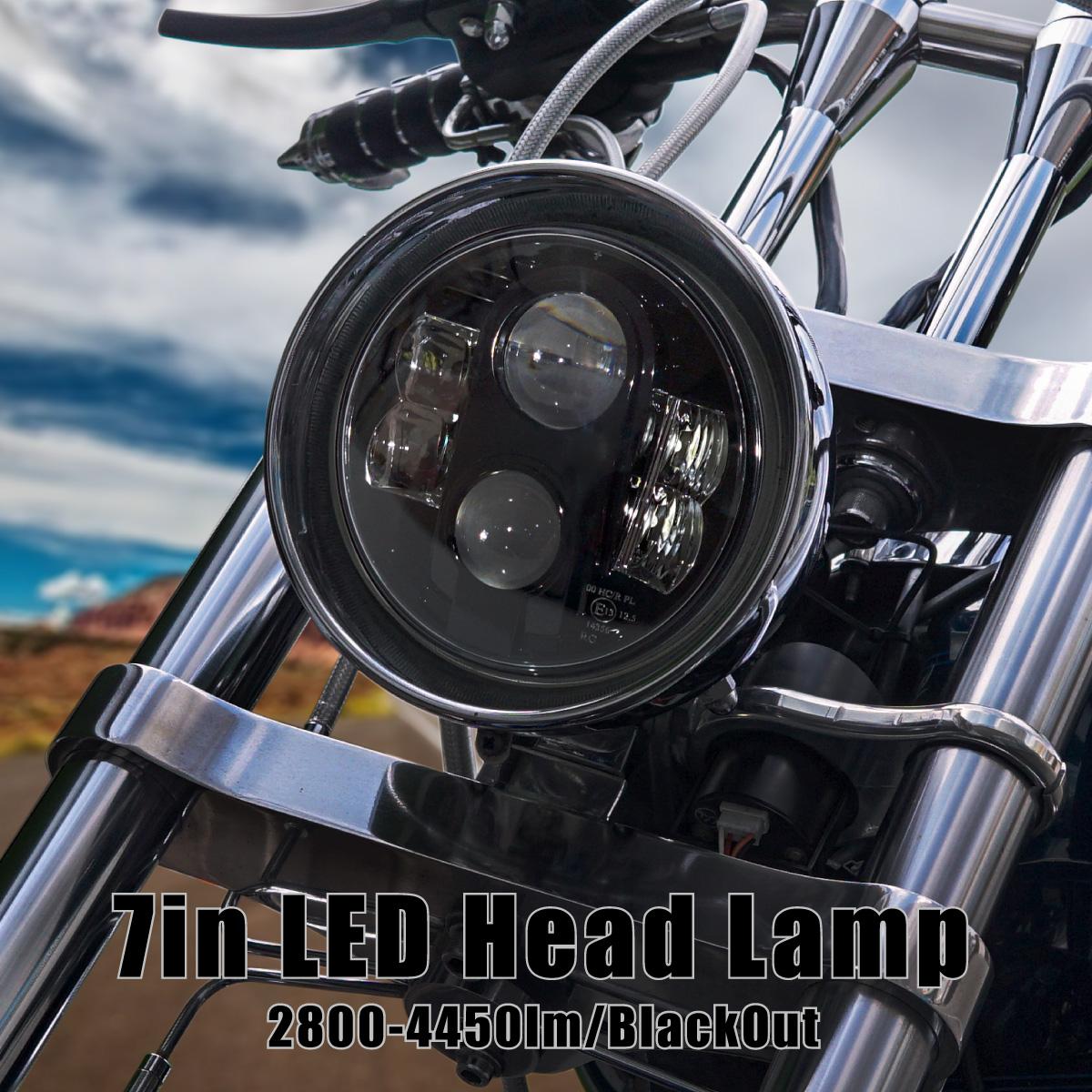 LED ヘッドライト ハーレーダビッドソン バイク 頑強 爆光 純白 ロービーム 30W ハイビーム 48W ハイロー切り替え 爆買い送料無料 ヒートシンク一体型ボディ 7インチ ラウンドタイプ 買取 ハーレー LEDヘッドライト SALE対象 明るい 2800lm インナーブラック 6500K ライト 1灯 CREE