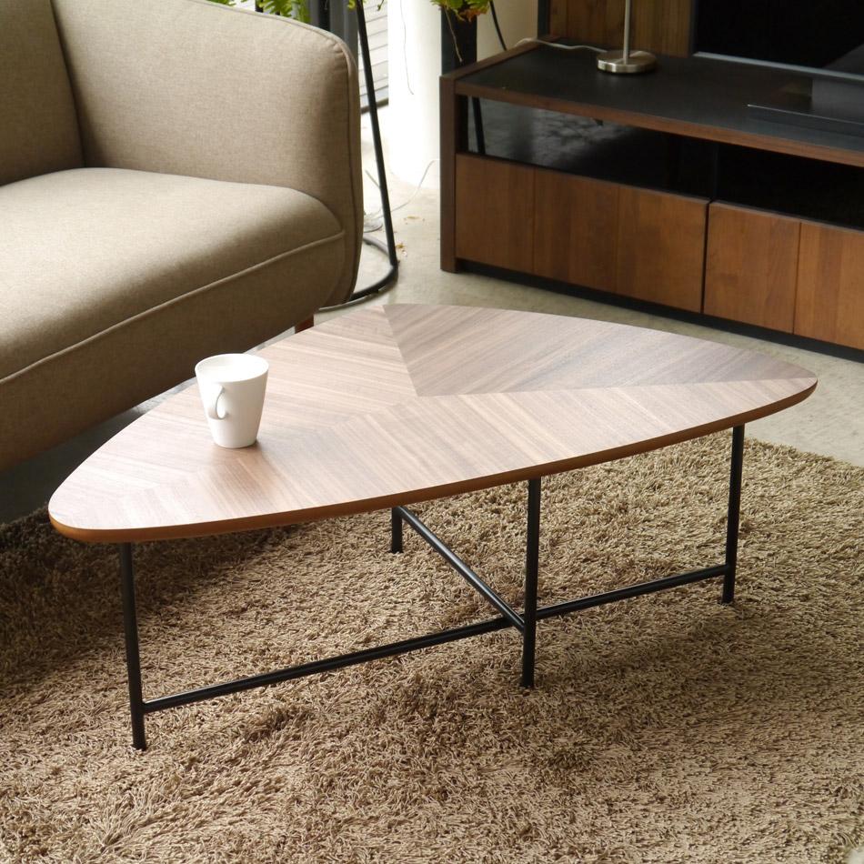 テーブル ローテーブル 座卓 スチール アイアン シンプル モダン 三角形 ウォールナット ブラック 送料無料 リビング 上品 デザイン 組立品