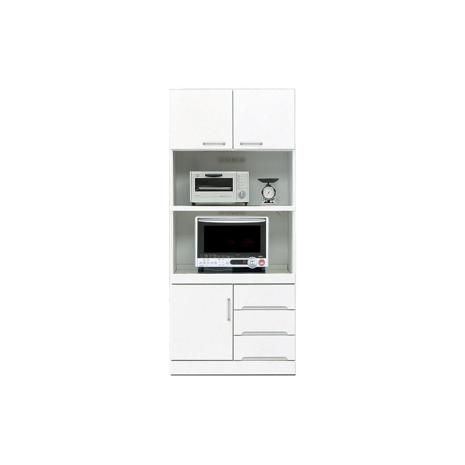 【全商品ポイントアップ】80 幅80 レンジ台 ハイタイプ キッチン収納 鏡面 ホワイト 白 食器棚 レンジラック レンジボード 木製 完成品 日本製 通販 送料無料 光沢 ツヤあり 艶あり