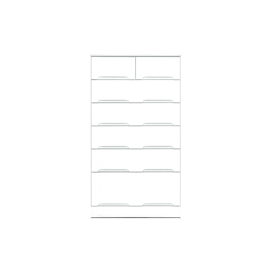 チェスト タンス ハイチェスト 幅70cm 6段 鏡面ホワイト 木製 国産 シンプル モダン 整理タンス 衣類収納 完成品 通販 送料無料 光沢 ツヤあり 艶あり