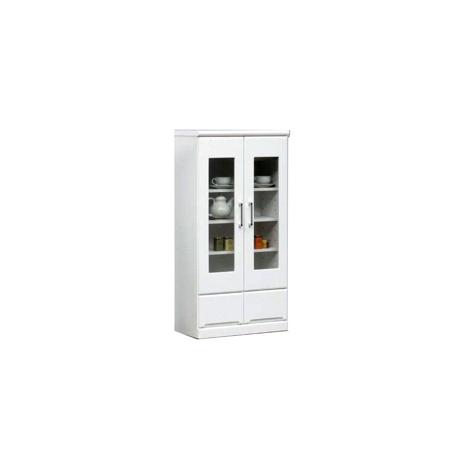 【送料無料】キャビネット 60 リビングボード 食器棚 キッチン キッチンボード ダイニング リビング 書斎 収納 ホワイト 白 完成品 開き戸 引出し 家具通販 エナメル塗装 通販