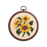お花をデザインしたクロスステッチキット オリムパス 新作通販 かんたんクロス ステッチ ししゅうキット プチフープ ヒマワリ 迅速な対応で商品をお届け致します 7330