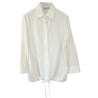 CIRCOLO1901 チルコロ レディス コットンジャージー紐入りシャツ・ホワイト/サックス【春夏】【送料無料】【メール便可】【セール】