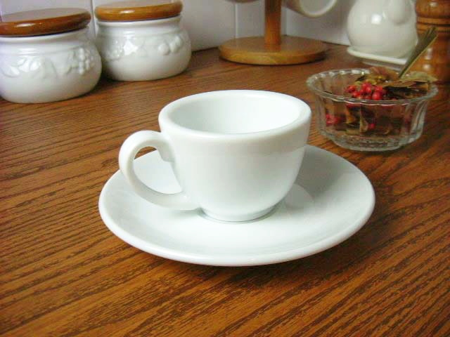 White Dinnerware chefs style Fonte espresso cups and saucers (small)  [coffee cup / Teacup / Cup plate] and [commercial]