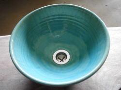 手洗い鉢 ブルーガラス (小) [ 洗面ボウル 陶器 ]