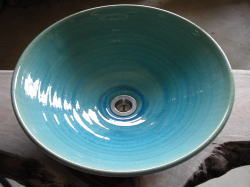 [メーカー在庫限り] 手洗い鉢 ブルーガラス (大)[ 洗面ボウル 洗面ボウル陶器 ]