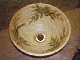 手洗い鉢 黄瀬戸南天 (小) [ 洗面ボウル 陶器 ]