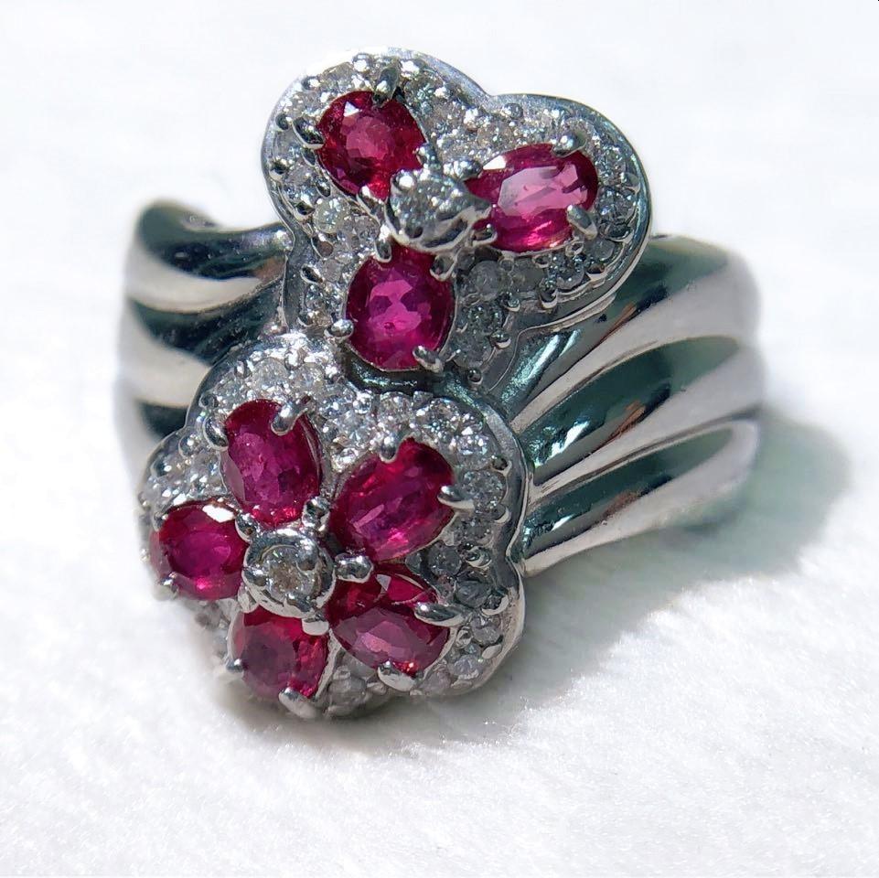 【中古】天然石ルビー:1.27ct ダイヤモンド:0.30ctPT900 約8.6g 指輪 リング 約10号