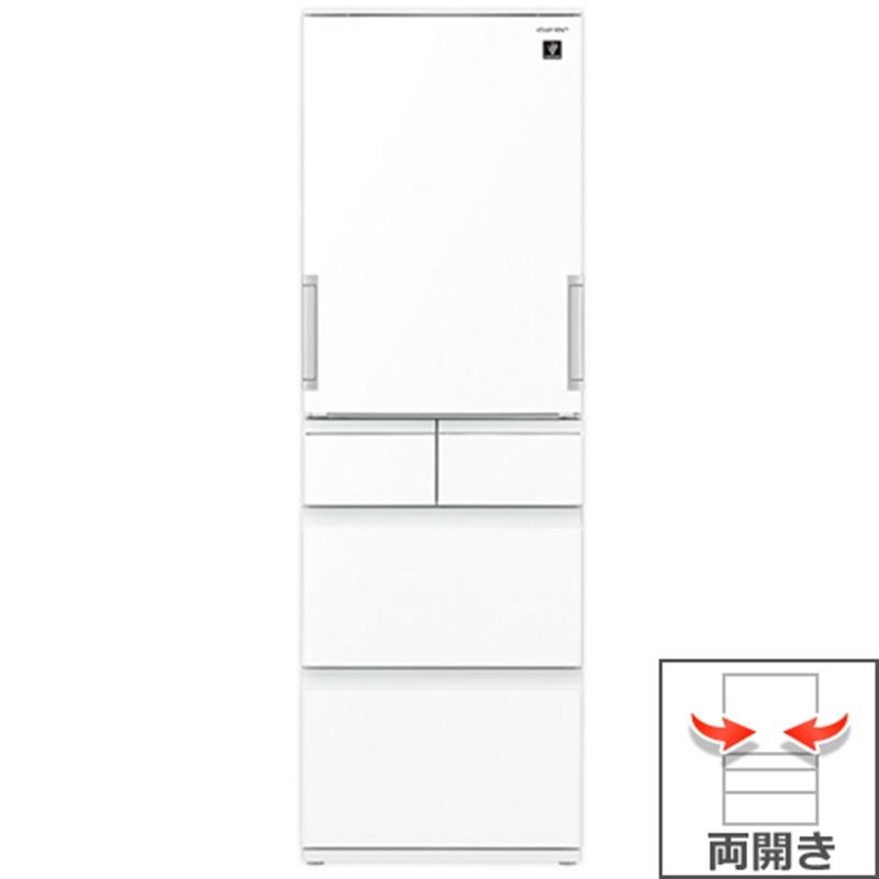 (長期無料保証/配送設置無料)シャープ 冷蔵庫 SJ-GW41F-W ピュアホワイト 左右両開き 内容量:412リットル:ケーズデンキ 店