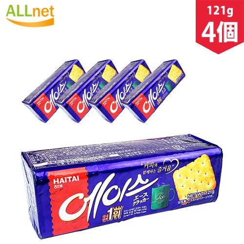 コーヒーと抜群の相性の韓国のお菓子です まとめてお得 送料無料 ヘテ 新作通販 エースクラッカー 121g×4個セット 韓国食品 お菓子 おやつ クラッカー マーケット 韓国菓子