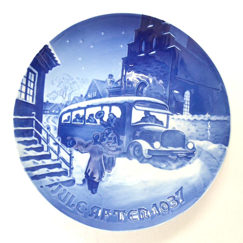 【B&G】Bing & Grondahl(ビングオーグレンダール)1937/昭和12年 イヤー プレート「クリスマスゲストの到着」/陶磁器/幅18cm/プレゼント/贈答/記念品/クリスマス/皿/限定/デンマーク/インテリア/飾る/きれい/高級