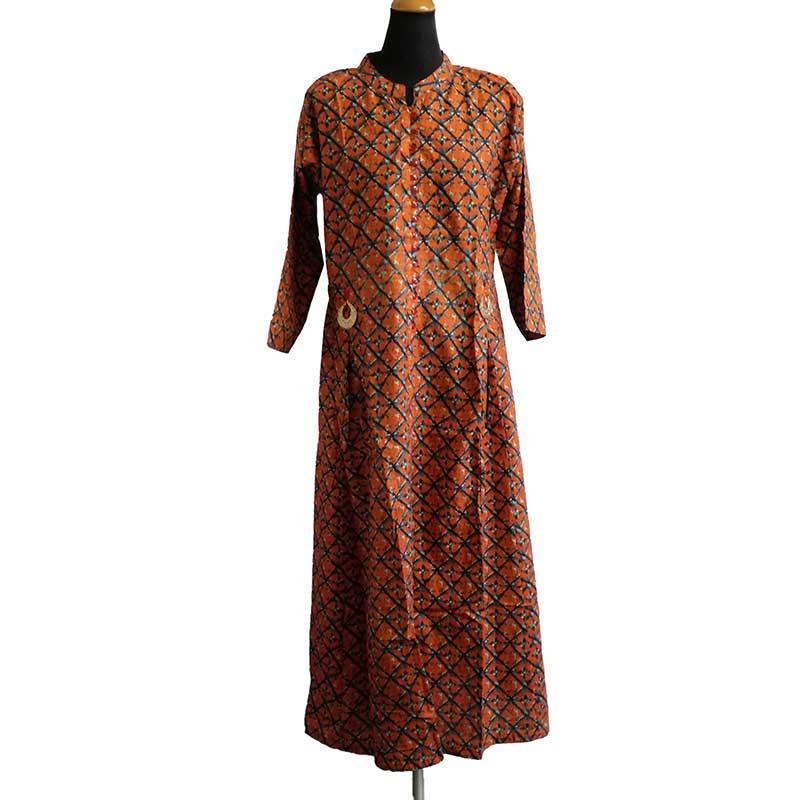 約肩幅36cm×ウエスト105cm×バスト110cm×着丈130cm 国際ブランド インド製 エスニック L S ロングワンピース コットン製 内祝い オレンジ 綿 XL アジア