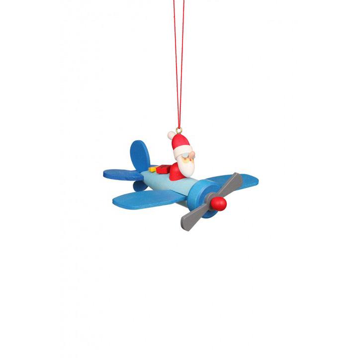 2019入荷 CHRISTIAN ULBRICHT/ウルブリヒト☆オーナメント☆飛行機に乗ったサンタクロース ドイツの木工芸品(幅12cm 高さ5cm 奥行き9.5cm) クリスマスツリー 装飾 ザイフェン 本場 雑貨 かわいい 贈り物 SANTA IN PLAIN ORNAMENT 100494