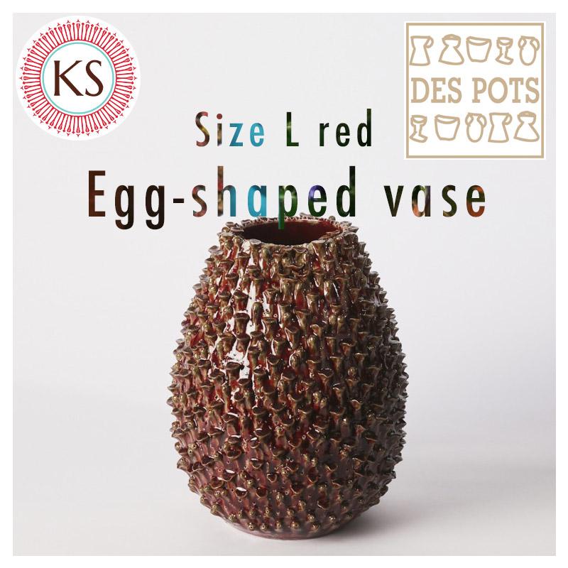 DESPOTS/デスポッツ おしゃれな花瓶 たまご型 フラワーベース レッド/Lサイズ/高さ21cm×幅19cm/インテリア/デザイン/北欧/オランダ/置物/ガーデニング/雑貨/陶器/天然/素材/ナチュラル/独創性/rot/赤/dp-egg1-21-ro