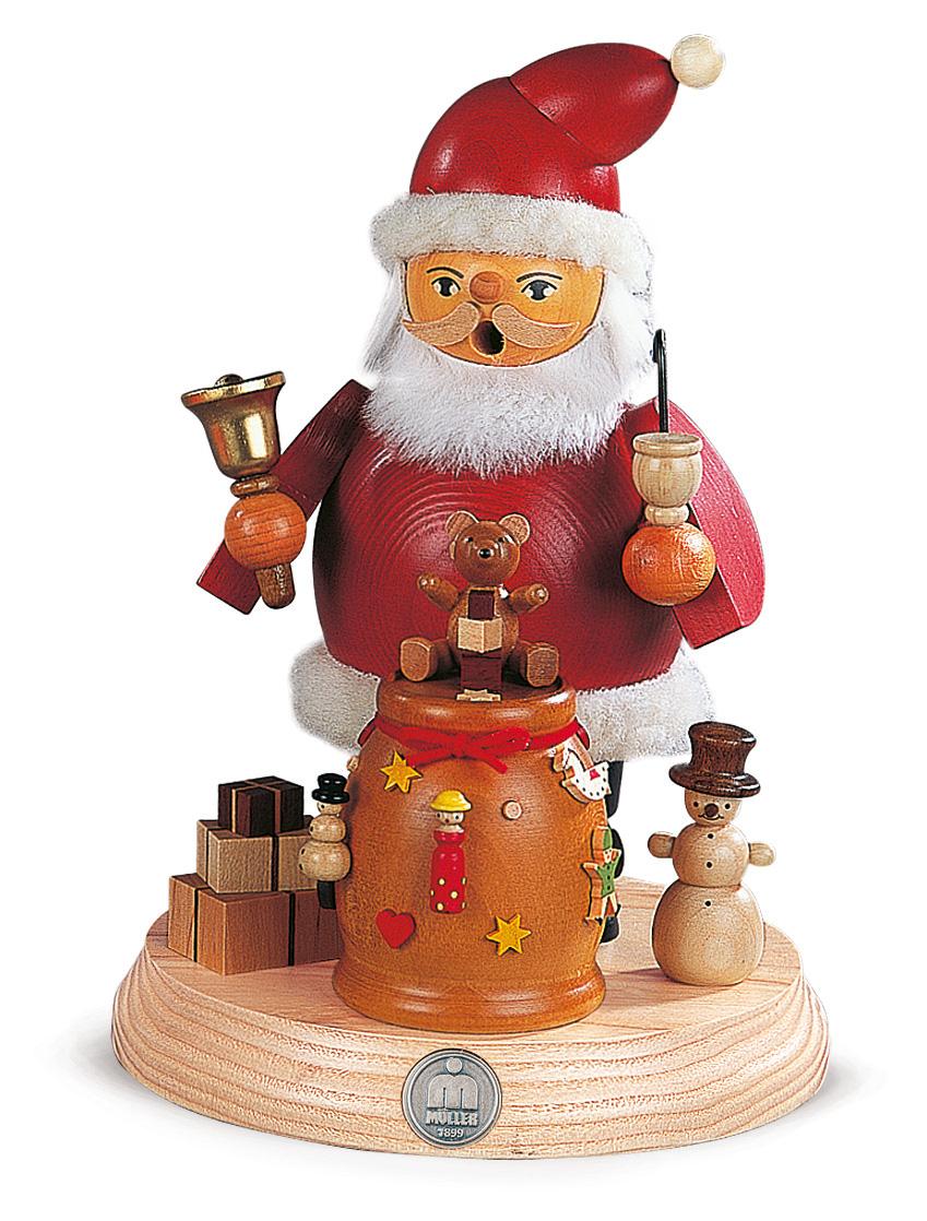 MUELLER 煙出し人形 19cm サンタクロースをサポートする雪だるま クリスマス ザイフェン村 SMOKER 木工芸品 ドイツ 本場 クリスマス雑貨 木製ラッキー 贈り物 装飾 【KSINTERONLINE】16188