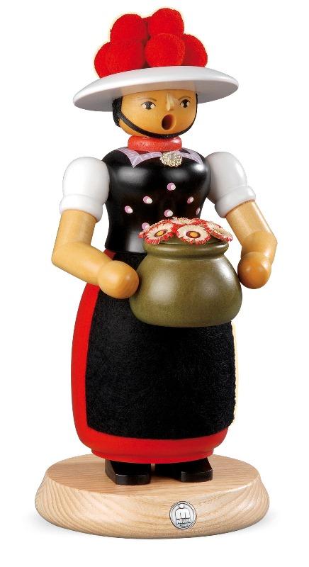 ☆煙出し人形☆ 25CM おもちゃ売り 婦人 クリスマスザイフェン村 SMOKER SMOKING MAN クリスマス雑貨 木製ラッキー 贈り物 装飾 【KSINTERONLINE】