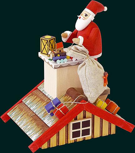 ☆煙出し人形☆ 20CM SANTA CLAUS サンタクロース 煙だし屋根の上のサンタ クリスマスザイフェン SMOKER SMOKING MAN クリスマス雑貨 木製ラッキー 贈り物 装飾 【KSINTERONLINE】2601