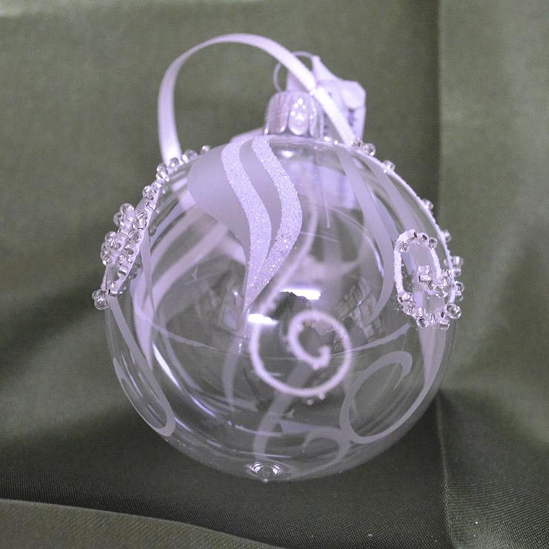 手作りチェコ製ガラスボール チェコORNEX製 ガラスボール 6cm クリアー ホワイト うずまき お得セット クリスマス ツリー 本場 装飾 オーナメント キラキラ ヨーロッパ 飾り 日本メーカー新品