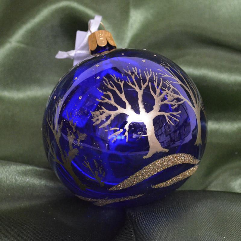 手作りチェコ製ガラスボール 大 チェコORNEX製 ガラスボール 8cm ブルー 定番スタイル クリアー 青 クリスマス 装飾 ヨーロッパ キラキラ 飾り 贈物 オーナメント ツリー 本場 ラージ