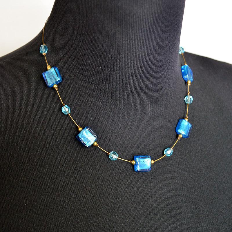 ヴェネチアングラス ネックレス ライトブルー 水色/パーティー用/ガラス/(開いて計測)42cm/イタリア/アクセサリー/ムラーノ/平たいブロック状
