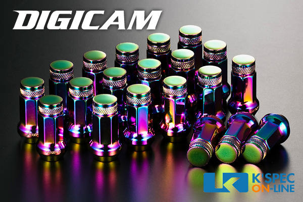 クロムモリブデン鋼(SCM435)を使用し薄肉化で軽量/冷間鍛造により強度もアップ!_ DIGICAM クロモリレーシングナット 20本セット 7角袋タイプ 45mm/オーロラカラー