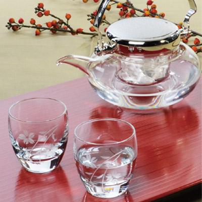 【日本製】【ハンドメイド】日本酒好きには堪らない 冷酒の器 盃2個と 耐熱ガラス 地炉利 の冷酒器セット 東洋佐々木 G604-M74【ラッキシール対応】