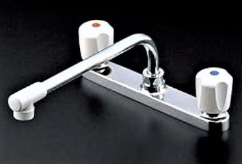 【TOTO TKJ23UR】 キッチン水栓 台付2ハンドル13混合栓 吐水形態整流 台所 混合水栓 蛇口