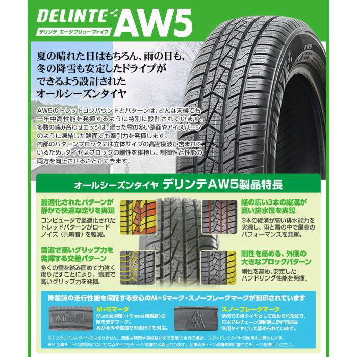 送料無料 DELINTE AW5 155/65R14 75T 155/65-14 オールシーズンタイヤ 4本セット