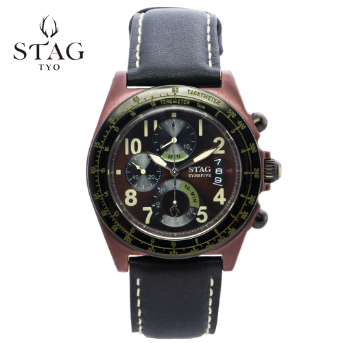 STG006B1 STAG スタッグ クロノグラフ 牛革 レザー ウォッチ 【送料無料】 watch 時計 お祝い ギフト プレゼント アクティブシリーズ SYM8FIVE