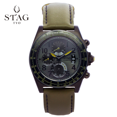 STG006B2 STAG スタッグ クロノグラフ 牛革 レザー ウォッチ 【送料無料】 watch 時計 お祝い ギフト プレゼント アクティブシリーズ SYM8FIVE