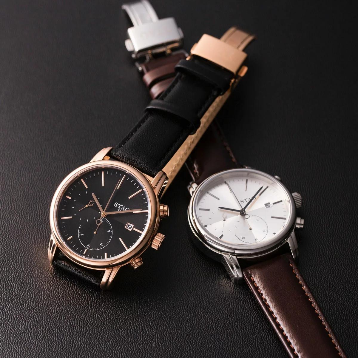 STAG STG021 【送料無料】 watch 腕時計 メンズ 牛革ベルト クロノグラフウォッチ スタッグ ティーワイオー TYO 日本製 1年保証 10気圧防水