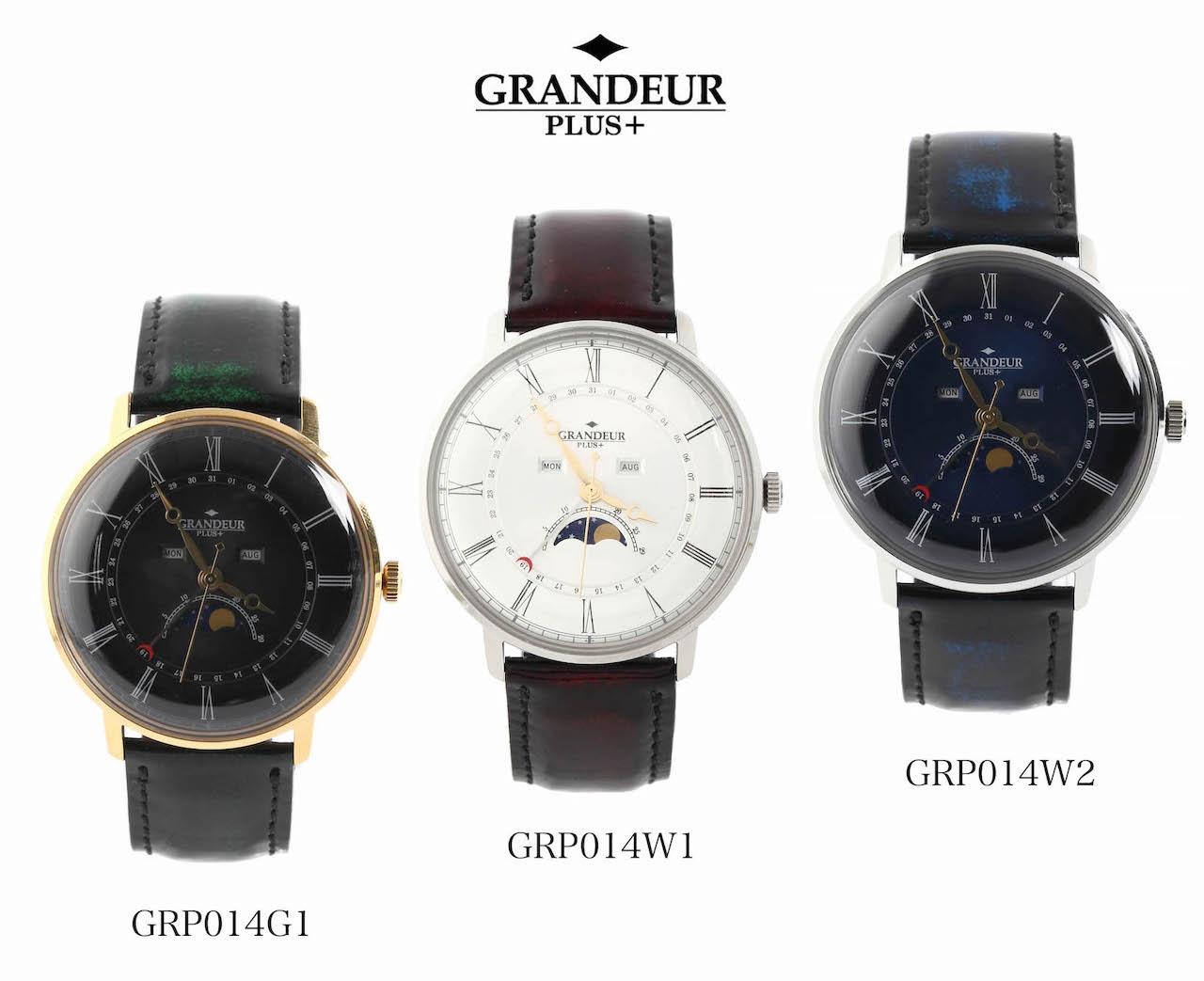 GRP014 ムーンフェイズ ウォッチ クラシカル ウォッチ【送料無料】 watch 腕時計 ヴィンテージ トリプルカレンダー ギフト プレゼント GRANDEUR PLUS グランドールプラス 1年保証