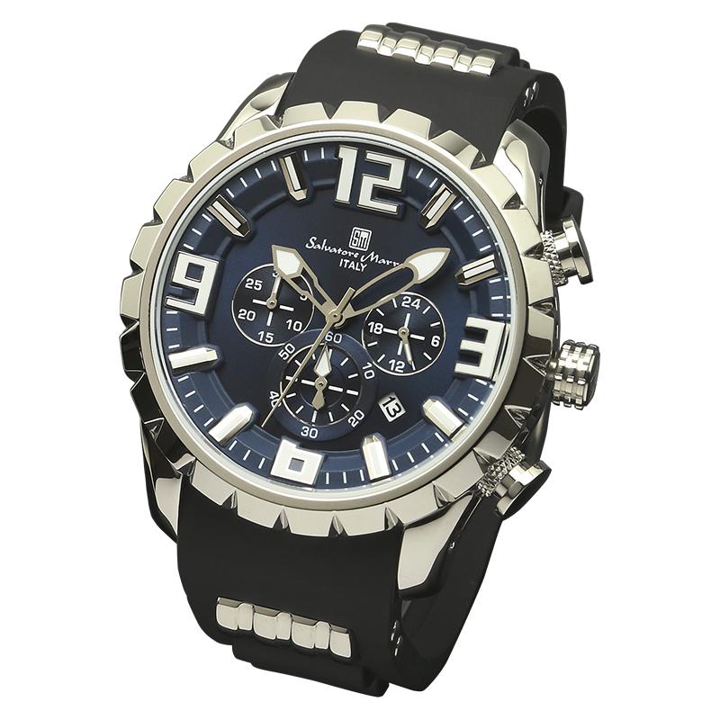 Salavatore Marra (サルバトーレマーラ) SM15107-SSBL メタルウォッチ 腕時計 【送料無料】 メンズ ファッション ラバーベルト ブラック お祝い プレゼント 日本製