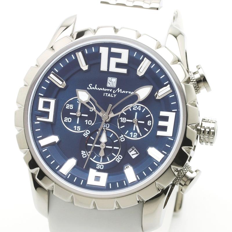 Salavatore Marra (サルバトーレマーラ) SM15107-SSBL-WH メタルウォッチ 腕時計 【送料無料】 メンズ ファッション ラバーベルト ブラック お祝い プレゼント 日本製