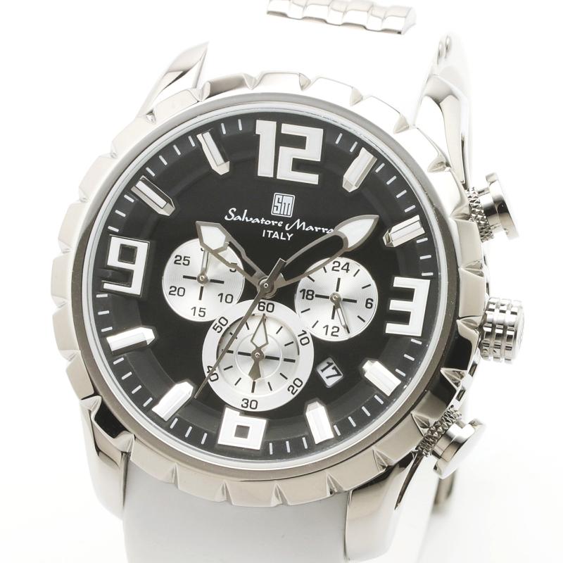 Salavatore Marra (サルバトーレマーラ) SM15107-SSBK-WH メタルウォッチ 腕時計 【送料無料】 メンズ ファッション ラバーベルト ブラック お祝い プレゼント 日本製