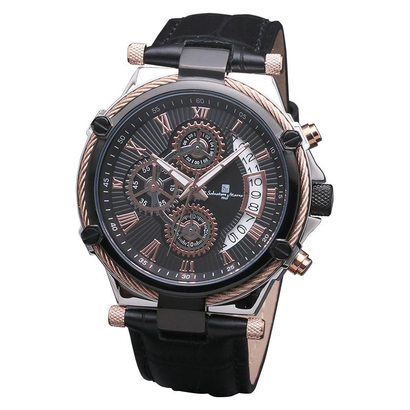 Salavatore Marra (サルバトーレマーラ) SM18102-PGBK クォーツレザーベルトウォッチ 【送料無料】 日本製 クロノグラフ 腕時計 メンズ お祝い クリスマスプレゼント ギフト