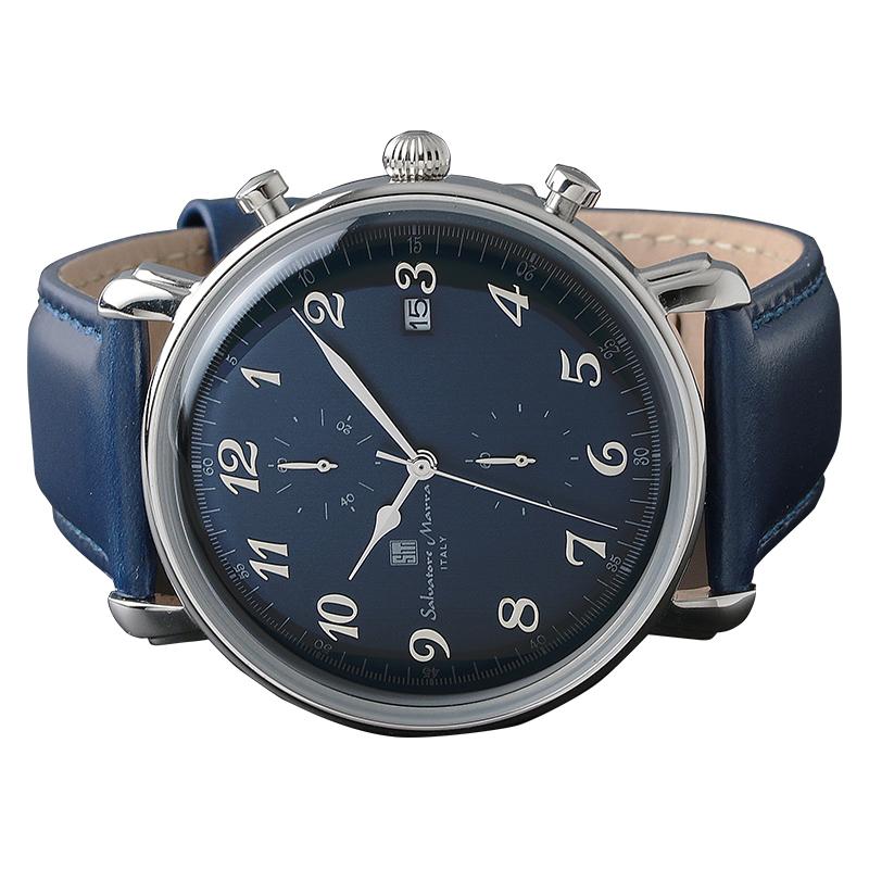 Salavatore Marra (サルバトーレマーラ) SM18109-SSBL クォーツ  腕時計 メンズ レザーバンド watches 保証1年 日本製 プレゼント ギフト