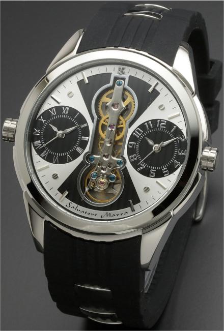 Salavatore Marra (サルバトーレマーラ) SM18113-SSWHBK お洒落なツインクォーツ 【送料無料】 腕時計 メンズ ラバーバンド watches 保証1年 日本製 約121g