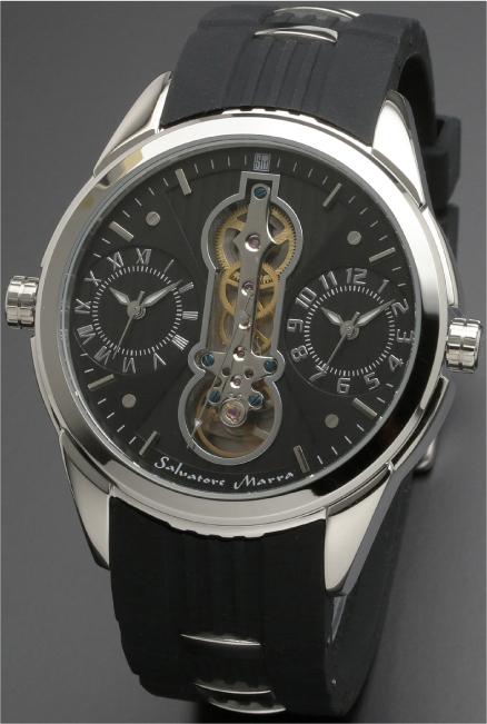 Salavatore Marra (サルバトーレマーラ) SM18113-SSBK お洒落なツインクォーツ 【送料無料】 腕時計 メンズ ラバーバンド watches 保証1年 日本製 約121g