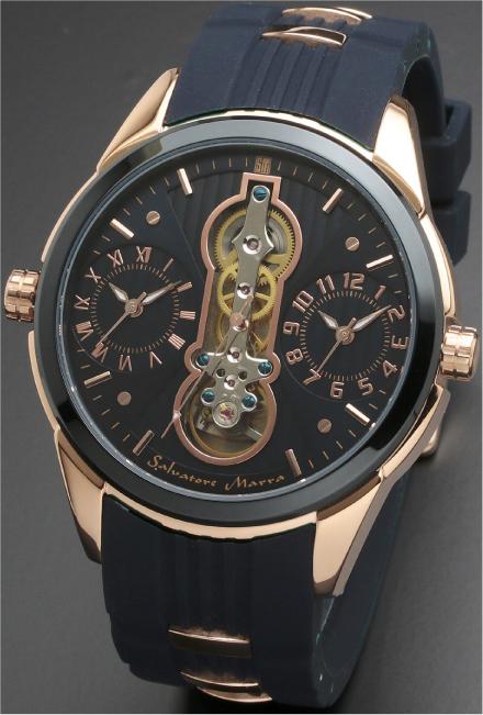 Salavatore Marra (サルバトーレマーラ) SM18113-PGBL お洒落なツインクォーツ 【送料無料】 腕時計 メンズ ラバーバンド watches 保証1年 日本製 約121g