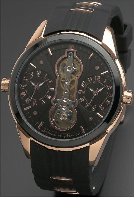 Salavatore Marra (サルバトーレマーラ) SM18113-PGBK お洒落なツインクォーツ 【送料無料】 腕時計 メンズ ラバーバンド watches 保証1年 日本製 約121g