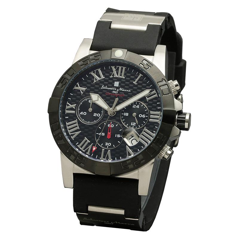 Salavatore Marra (サルバトーレマーラ) SM18118-SSBK クォーツ 【送料無料】 腕時計 メンズ ウレタンバンド watches 保証1年 日本製 プレゼント ギフト