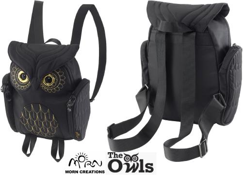 ミミズククラシック バックパック レディース OW386 【送料無料】 MORN CREATIONS 梟 リュックサック カバン 鞄 バッグ ギフト プレゼント フクロウ ブラック モーンクリエイションズ OW-386