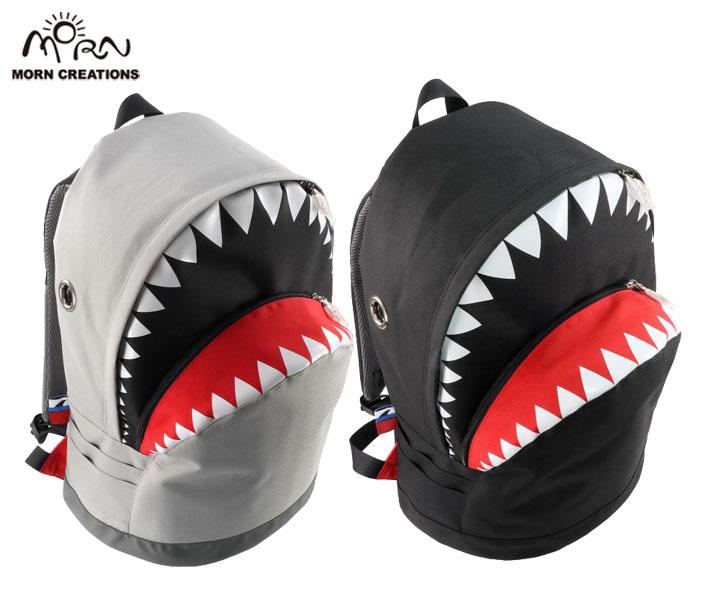 シャークバックパック LL SK128【送料無料】 ブラック グレー リュック カバン 撥水 鮫 サメ MORN CREATIONS モーンクリエイションズ ギフト お祝い プレゼント SK-128
