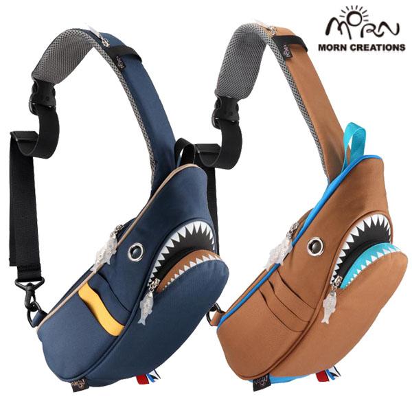 シャークスリングバッグ コンビ 【送料無料】 SK-229 ネイビー ブラウン ボディバッグ カバン 鞄 ギフト プレゼント 鮫 サメ モーンクリエイションズ MORN CREATIONS SK229