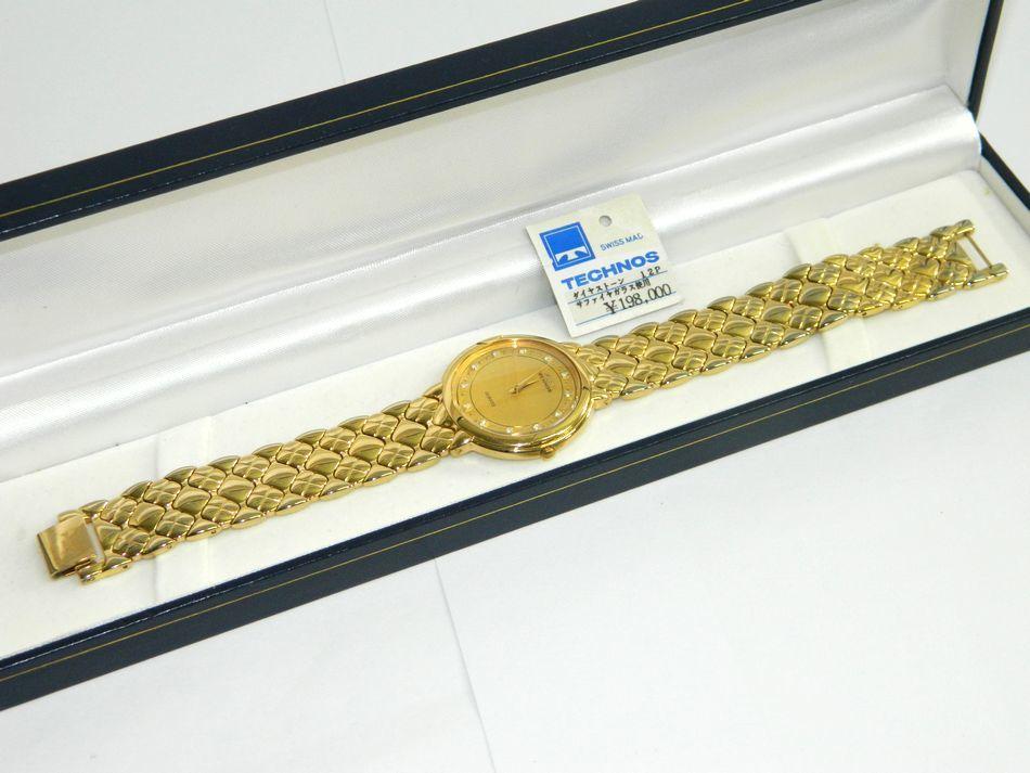 [中古] 送料無料 TECHNOS メンズ 腕時計 ダイヤストーン12P サファイアガラス TE-937 クォーツ ゴールド 金色 GP 男性用時計 SS テクノス USED品