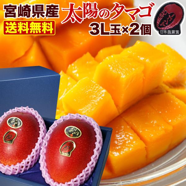 マンゴー 宮崎マンゴー 太陽のタマゴ 母の日 父の日 ギフト 特大3L玉(450g以上)×2玉 太陽のたまご JA西都協賛光センサー完全選果 mango