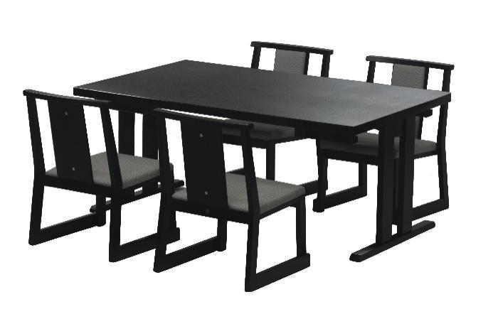 座敷の雰囲気に調和するテーブルです。天井の低い座敷に合わせてHは62(32.5)cmになってます。※椅子別売 和洋兼用四人膳150×90×H62(32.5)cmメラミン黒乾漆(※大型家具扱送料別途見積となります)